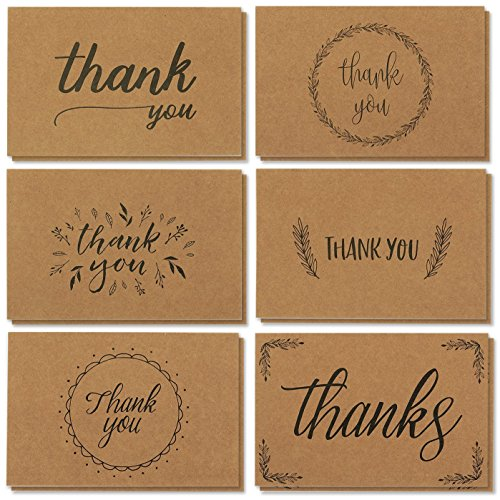 36 Thank You Cards Brown Kraft Envelopes, Kraft Paper Bulk Blank Notes Set, Handwritten Style for Wedding, Business, Baby Shower, 4 x 6 Inches