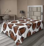Lunarable Sports Flat Sheet, American Football Rugby Balls Cartoon Pattern Professional Sportsman Athleticism, Soft Comfortable Top Sheet Decorative Bedding 1 Piece, Twin Size, White Brown