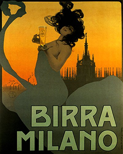 """16"""" X 20"""" Fashion Italian Girl lady Birra Beer Milano Milan Italy Italia Drink Vintage Poster Repro Standard Image Size for Framing. We Have Other Sizes Available!"""