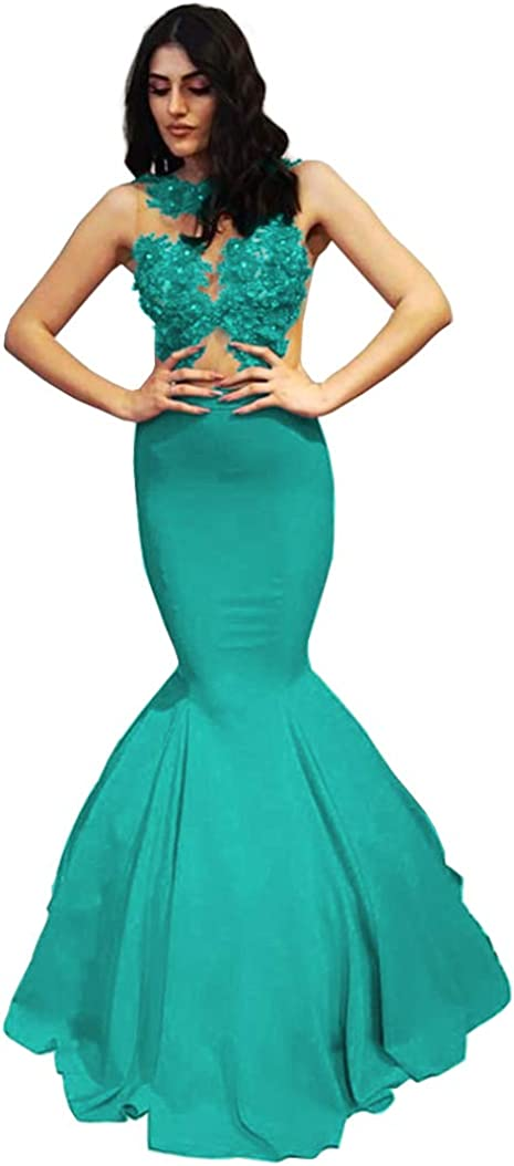 Blawhee gift Women's Mermaid Popularity Lace Appliques Illusion Dresses Prom Lon