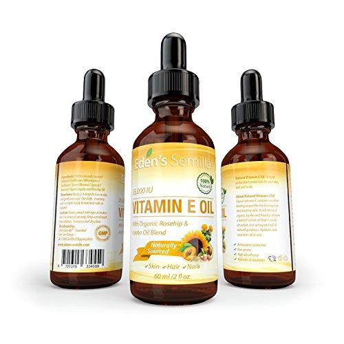 100% Natural Vitamin E Oil 35,000 IU + Organic Rosehip & Jojoba Blend
