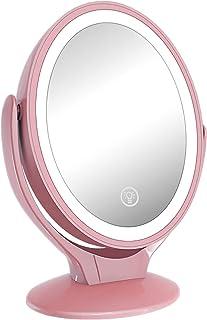 化粧鏡 化粧ミラー LEDライト付き鏡 コンパクト 拡大鏡付き 卓上ミラー メイクミラー USB充電式 女優ミラー 180°回転 角度&明るさ調節可能 3段階調光