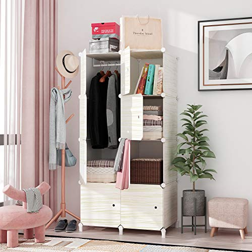 JOISCOPE MEGAFUTURE Wood Pattern Portable Wardrobe Closet for Hanging Clothes, Combination Armoire, Modular Cabinet for Space Saving, Ideal Storage Organizer Cube for Books, Toys, Towels (8-Cube)