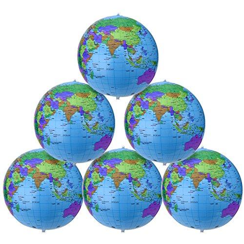 16 Zoll Aufblasbarer Erdkugel Inflatable Globe Wasserball Kugel für Pädagogisches Strand-Spielen, Mehrfarbig (6 Packung)