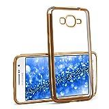 MoEx® Funda de Silicona Transparente de Estilo Cromado Compatible con Samsung Galaxy Grand Prime | doré