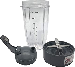 32oz Cup with Flip Top To-Go Lid & Blade Replacement Set Compatible with 600W/900W NutriBullet - Tall Blender Cup & Extractor Blade accessories for bullet