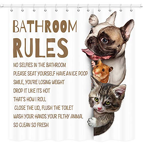 JAWO Lustiger Tier-Duschvorhang für Badezimmer, Maus Katze Mops H& mit Badezimmerregeln, Stoff Badezimmer-Vorhang-Set mit Haken, wasserdicht 175,3 x 177,8 cm