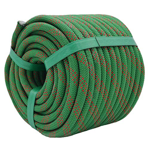 YUZENET Static Rock Climbing Rope 2/5 Inch 50 Feet Outdoor Safety Fire Escape Rope Rappelling Rope Green/Red
