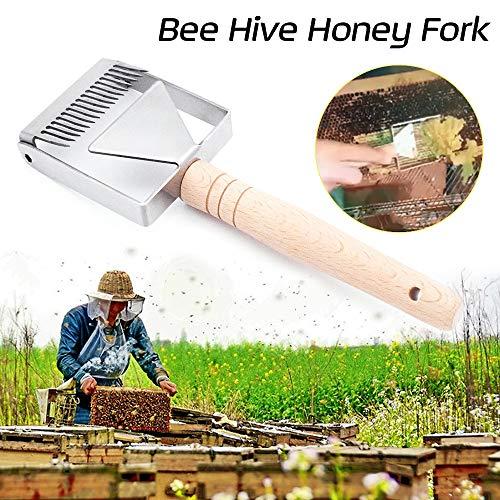 Skymore Bienen Entdeckelungsgabel Edelstahl, Imkereiausrüstung Zubehör Bienenzucht Werkzeug, Honig Gabel Schaber Schaufel für Imker