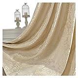 Cortina Opaca Damasco cortinas for la sala de estar de lujo Jacquard Ciegos cortinas de la ventana Panel de tela de la cortina for el sombreado Dormitorio Cortinas ( Color : Ivory , Size : Pocket )