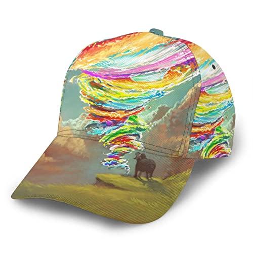LAOLUCKY Cappello da baseball regolabile a tesa curva Snapback cappello classico papà cappello per uomini donne, Cinghiale Colorato Tornado Trattori Cielo Nero, Taglia Unica