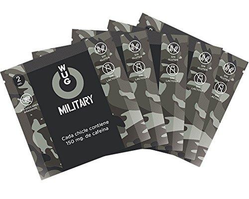 WUG Military Chicle Ideal para Deportes Extremos 150 mg Cafeína, Hierbabuena, 1 Sobre de 2 Unidades