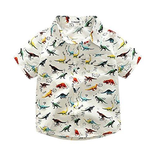Sunenjoy Bébé Garçon T-Shirt à Manches Courtes Dinosaure Imprimé Été (6 Ans, Blanc)