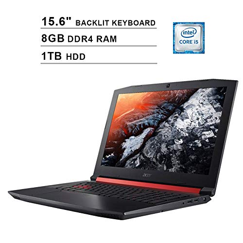 Acer Nitro 5 AN515 15.6-Inch FHD 1080P Gaming Laptop, Intel 4-Core i5-8300H up to 4.0 GHz, NVIDIA GTX 1050 Ti, 8GB DDR4 RAM, 1TB HDD, HDMI, WiFi, Backlit KB, Win 10, Shale Black