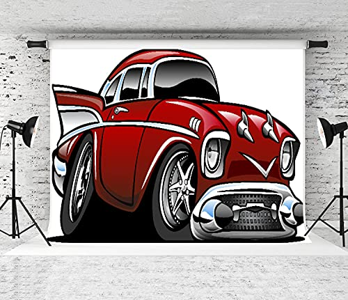 VINISATH Photography Background,Classic Vintage American Muscle Car Fancy Old Fashion Famous Icon Graphic,Collapsible Party Decoration Banner Photo Booth Backdrop for Studio Props,8x6FT