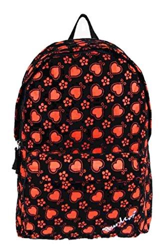 Da donna in pelle scamosciata, per bambina, motivo cuori, unisex, per la scuola, università-Zaino borsa rosso