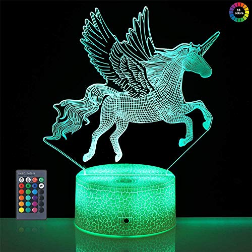Unicorn 3D Illusion Lamp 16 Colors LED Night Light 16 Color Change with Remote Control, Bedroom Decor Personalized Creative Christmas Birthday Gift for Kid Child Toddler