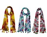 FusFus Women's Poly Cotton Printed Scarf and Stoles (F072, Free Size) - Combo of 3