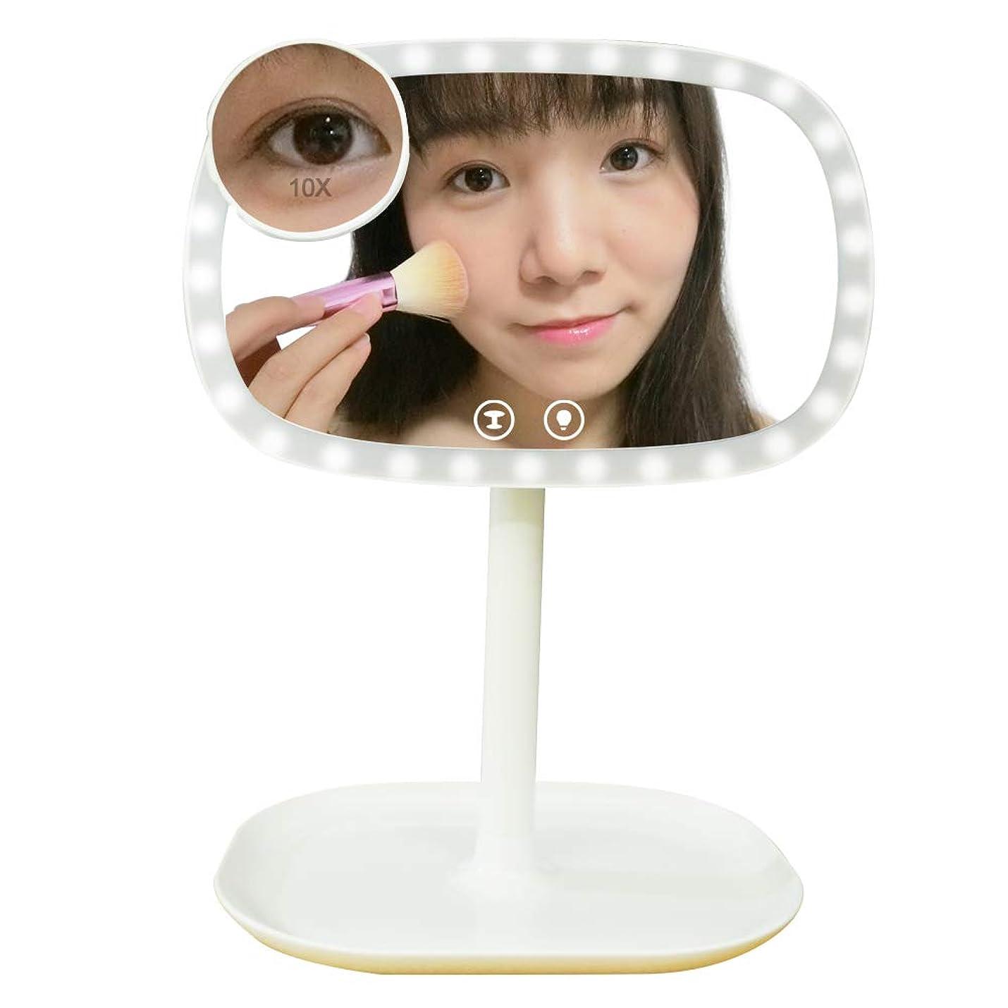 考えどうやら帝国主義ホヨミ 鏡 LED 化粧鏡 化粧ミラー 女優ミラー 10倍 拡大鏡 テーブルランプ 明るさ調節可能電池&USB 2WAY 給電 360度回転 収納 プレゼント (ホワイト)