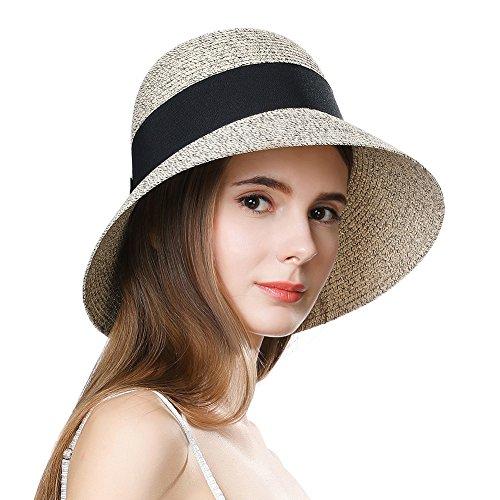SIGGI Stroh Sommerhut mit Sonnen Shade für Damen schlaffer Strand Sonnenhut Breite Krempe, 69087_Kaffeebraunmix, M