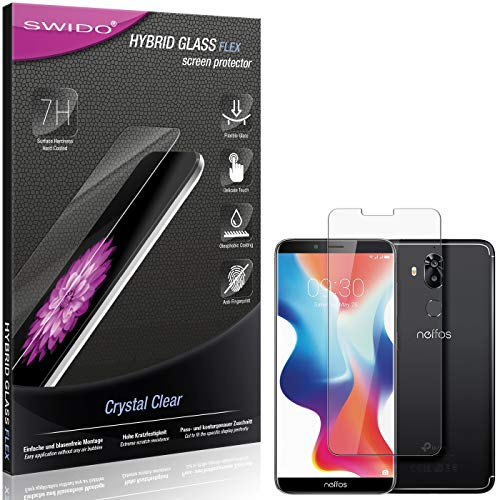 SWIDO Panzerglas Schutzfolie kompatibel mit TP-Link Neffos X9 Bildschirmschutz-Folie & Glas = biegsames HYBRIDGLAS, splitterfrei, Anti-Fingerprint KLAR - HD-Clear