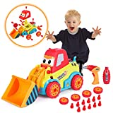 Construction toys, VATOS STEM toys for 3-4 year old boys and girls, disassembly cars with sounds, lights and drill tool, build your own car kit, miniature cars for ages 3 and up, bulldozer assembly toy