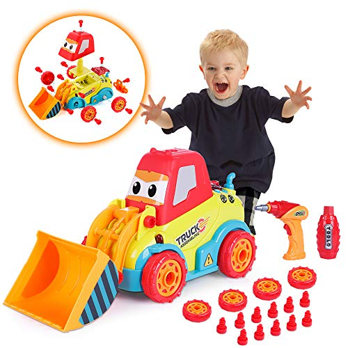 Construction Toys, VATOS STEM Toys for 3 -4 -5 Years Old Boys & Girls, Take Apart Car with Sounds, Lights & Drill Tool, Build Your Own Car Kit, Toy Cars for 3+ Year Old, Assembling Bulldozer Toy
