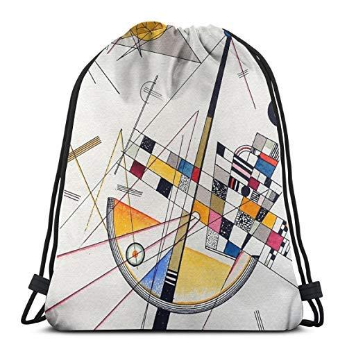 XCNGG Kordeltasche Kordeltasche Tragbare Tasche Sporttasche Einkaufstasche Einkaufstasche Bundle Backpack Outdoor Shopping Knapsack Wassily Kandinsky Delicate Tension Rope-Pulling Bag Sports Bag Suita