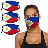 Filipino Philippine National Flag 3PCS Face Mask Washable Reusable Bandana Scarf Adjustable Strap & Nose Clip Unisex