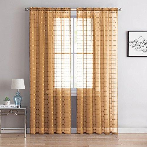 "Victoria Classics Home Single (1) Sheer Rod Pocket Window Curtain Panel: 55"" W X 63"" L, Plaid/Check Design (Gold)"