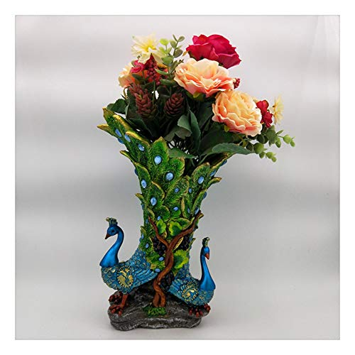TYX Resin Crafts, Creative Exquisite Vase Sculptures of Couple Peacock Flowers, Home Decoration Decorations, Living Room And Hotel Decorations,B,15 * 12 * 27cm