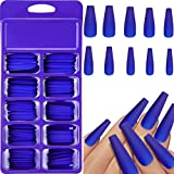 100 Pieces Matte Extra Long Ballerina Press on Nails Coffin False Nails Solid Color Full Cover Fake Nails Matte Coffin False Nails with Box for Women Girls Nail Decorations (Blue)