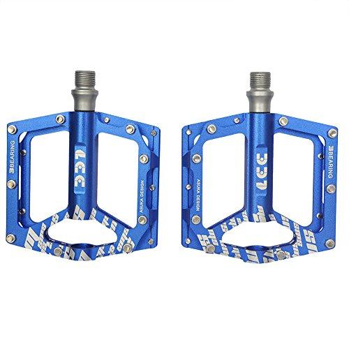 Upanbike Bike Pedals9/40,6cm 3Roulement en alliage d'aluminium Anti-silp Plat plate-forme pour BMX VTT Route Vélo, bleu