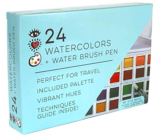 iHeartArt 24 Watercolor Paint Set with Water Brush Pen in Compact Watercolor Travel Case by Bright Stripes - Premium Watercolor Travel Set
