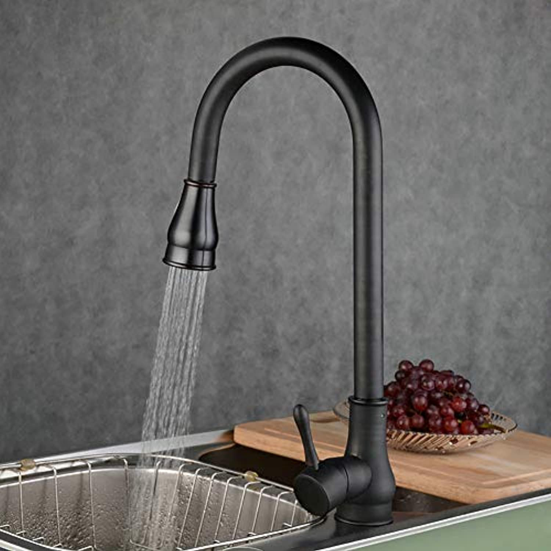 GMPRNQB Voller kupferzughahn, heier und kalter doppelter Kontrolle schwarzbronze multifunktions drehbarer waschbeckenhahn