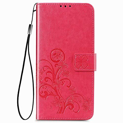 BAIDIYU Funda para Samsung Galaxy A82, Efectivo y Tarjetas Ranuras, Estuche Tipo Billetera de Cuero PU de Lujo con Tapa, Funda Carcasa para Samsung Galaxy A82.(Rosa roja)