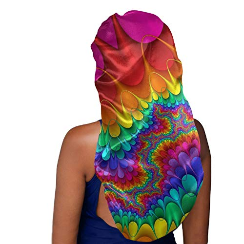 Cozeyat Female Long Sleeping Caps for Girls Running&Shopping Head Wears Rainbow Tie Dye Design Smooth Large Stain Bonnet Curly Long Hair Protect Cover