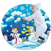 エリアラグ軽量 雪だるまの冬の風景 フロアマットソフトカーペット直径27.6インチホームリビングダイニングルームベッドルーム