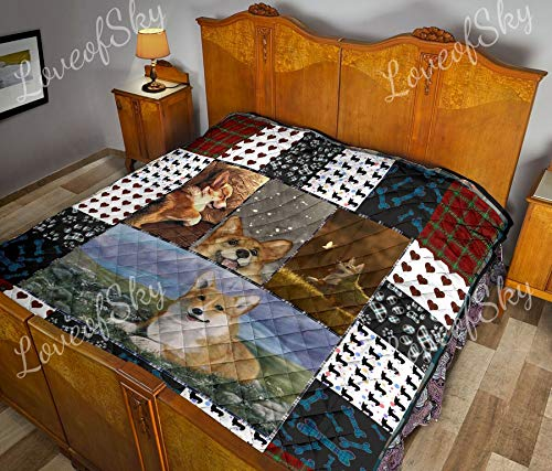 Best Deals! Corgi Lover Quilt Queen Size Limited Throw Size - Pattern Blanket All-Season Quilts Comf...