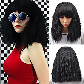 BERON Short Wavy Black Wig with Bangs Womens Curly Bob Hair Wigs Heat Resistant Synthetic Wig Daily Party Cosplay Use