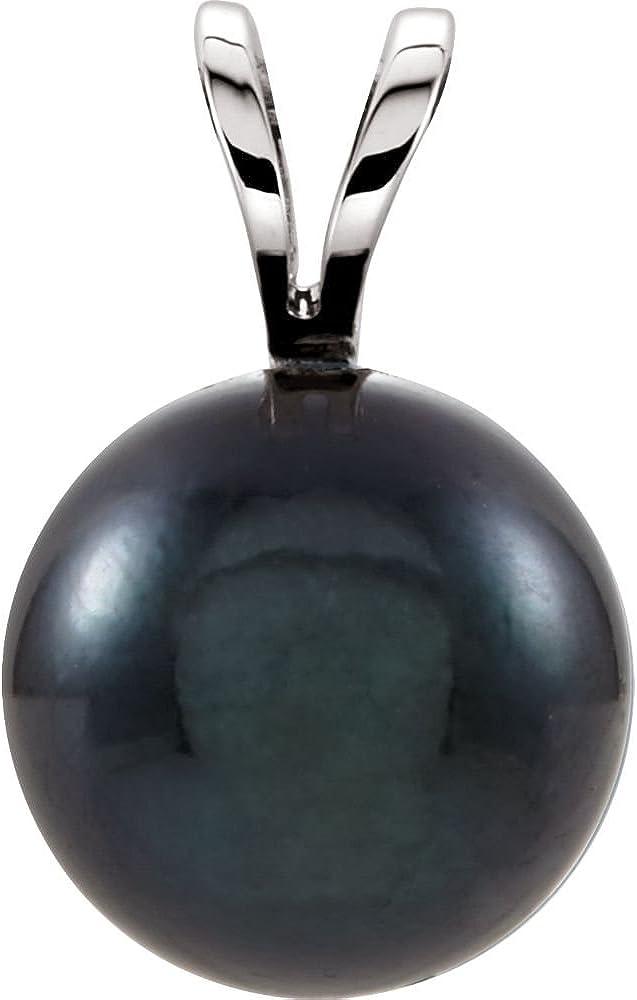 14K White Gold Black Akoya Cultured Pearl Pendant