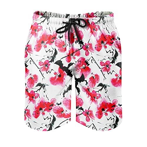 Dessionop Bañador para hombre con diseño japonés, con forro de bolsillo, color blanco, talla XXL