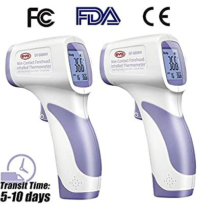 2 Pack Thermometer for Adults, CE/FCC/FDA Certified Infrared Forehead Temperature Gun, Non-Contact Accurate Instant Reading Measurement for Baby Kids