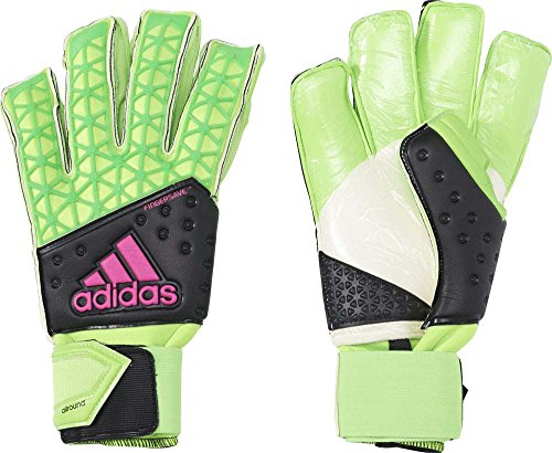 adidas Herren Torwarthandschuhe Ace Zones Fingersave Allround, Solar Green/Core Black/Shock Pink S16/White, 9.5
