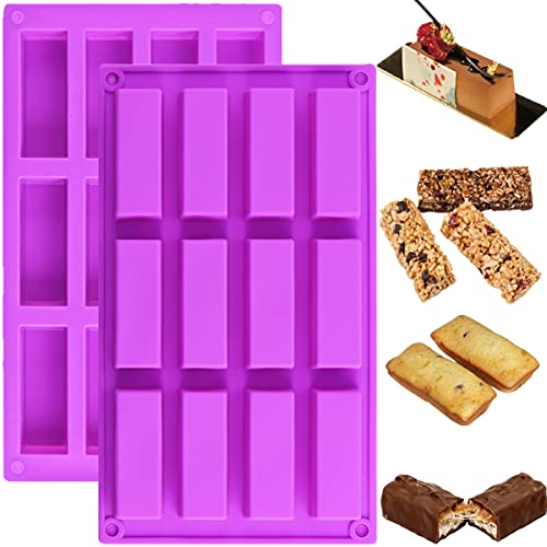 [2pcs] JOERSH Chocolate Bar Mold/Granola Bar Pan, Rectangle Silicone Candy Molds for Baking Energy Bars/Protein bars/Ganache/Brownie/Cheesecake/Cornbread/Pudding, 12-Cavity Butter Mould
