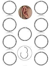 BESTEEL 9 Pz 16G in Acciaio Inox Piercing Naso Orecchini a Cerchio per Le Donne Ragazze Anello Piercing sul Naso del setto Lip Monili del Corpo 8-10mm