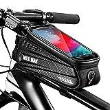 BTNEEU Bolsa Bicicleta Cuadro Impermeable Bolsa Movil Bicicleta Montaña con Parasol y Pantalla Táctil, Bolsa de Cuadro Bolsa Soporte Movil Bicicleta para Smartphones de hasta 6,8 Pulgada (Negro)