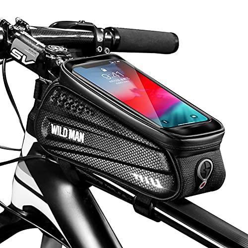BTNEEU Borsa Telaio Bici Porta Cellulare Impermeabile, Borsa Porta Telefono Bici con Visiera Parasole e Touchscreen Borsa Bici Smartphone Adatto per Telefoni sotto 6.8 Pollici (Nero)