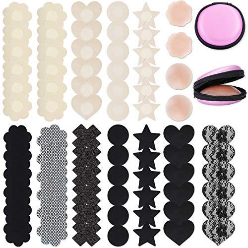 Defrsk 35 – 70 pares de fundas para pezón para mujeres, hojas de pezón de silicona reutilizables, hojas de satén invisibles autoadhesivas, Negro & Beige - 38 Pairs, C