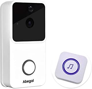 Abegal Wireless Video Doorbell, 720P Full HD WiFi Smart Doorbell with Chime, Compatible with Alexa, Two-Way Audio Night Vision PIR Motion Detection Home Security System Doorbell (White)